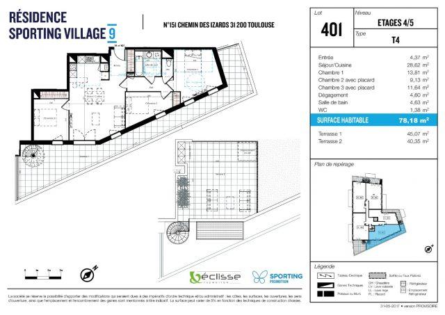 Appartement T4 de 78.18 m² à Toulouse
