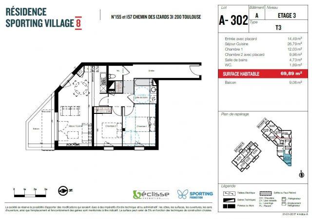 Appartement T3 de 69.89 m² à Toulouse