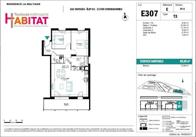 Appartement T3 de 68.08 m² à Toulouse