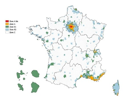 Carte France zonage Cosse